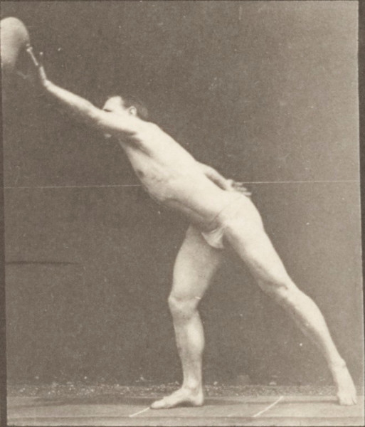 Man in pelvis cloth striking a blow, throwing a disk, heaving a 75-lb stone, throwing a ball
