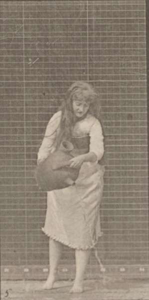 Draped woman making miscellaneous movements with a water jar
