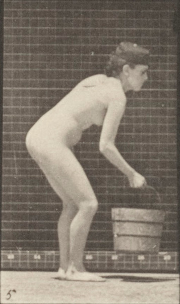 Nude woman emptying a bucket of water