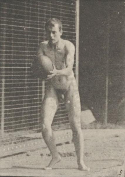 Nude man playing football, drop kick