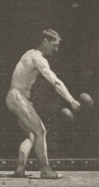 Nude man lifting a 50-lb dumbbell at arm's length