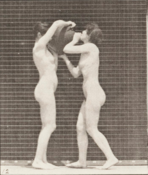 Nude woman drinking from the water jar on the shoulder of another