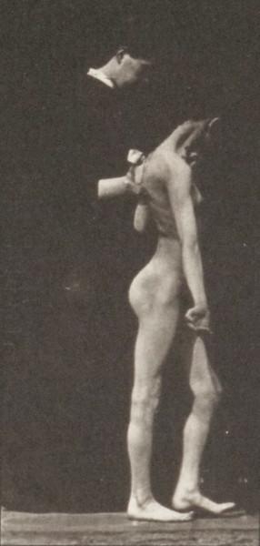 Nude girl spastically walking