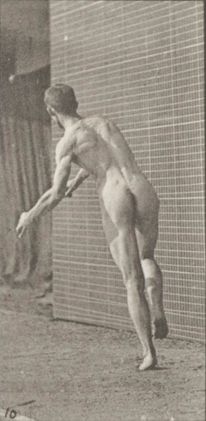 Nude man playing cricket, overarm bowling