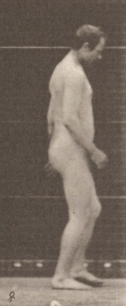 Nude man walking