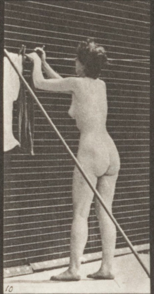 Nude woman hanging clothes on a line