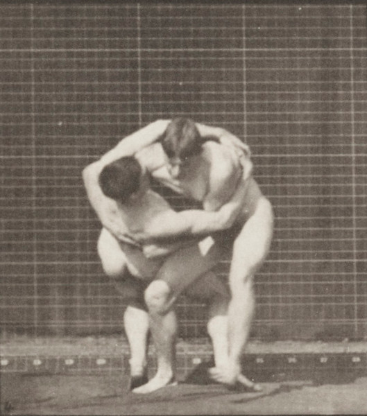 Nude men wrestling, lock