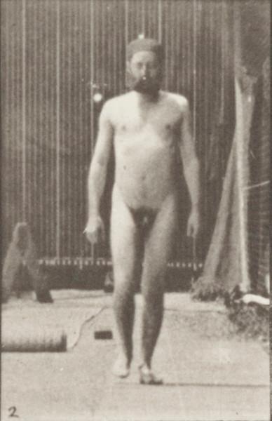 Nude farmer scattering seed