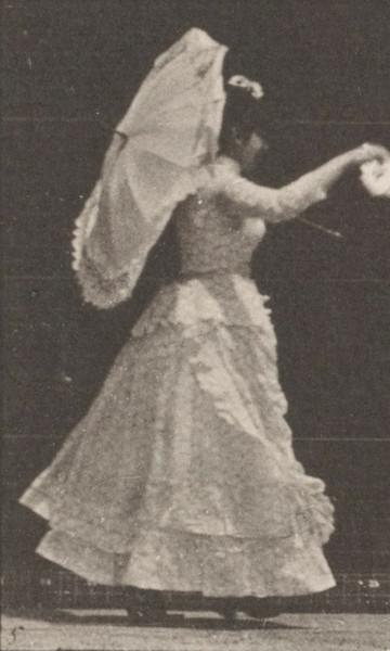 Woman running and waving a handkerchief