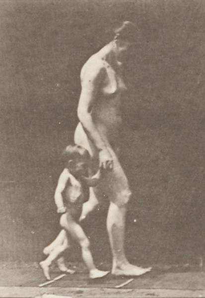 Nude woman running with a child hand in hand