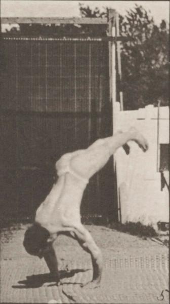 Male acrobat wearing pelvis cloth perfroming vertical press up
