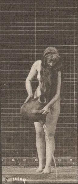 Nude woman moving with water jar