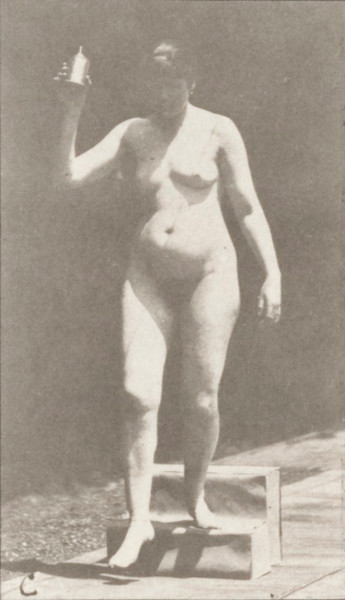 Nude woman descending a step
