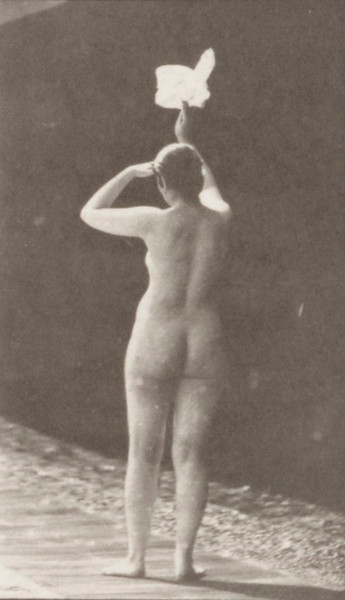 Nude woman waving a handkerchief