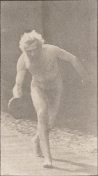 Nude man throwing disk