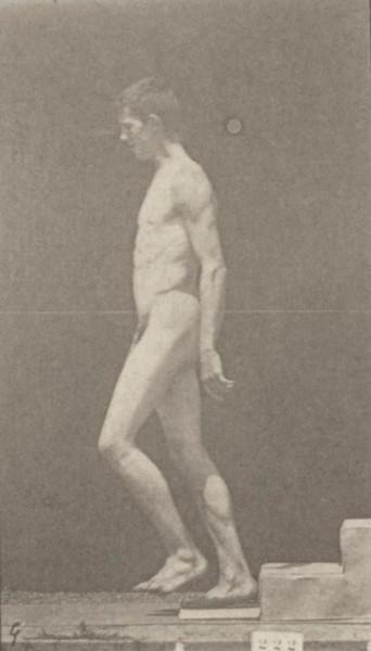 Nude man descending a step