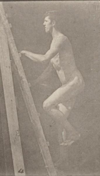 Nude man ascending a ladder