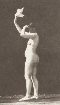 Nude woman waving a handkerchief