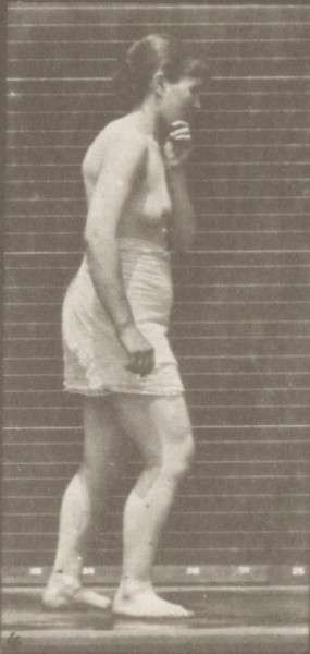 Semi-nude woman walking spastically