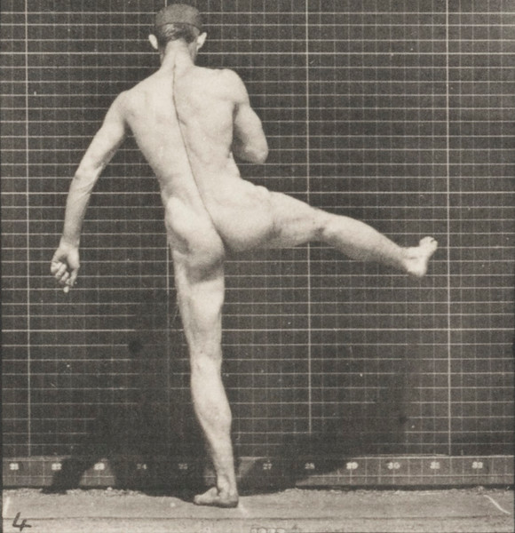 Nude man performing first ballet action