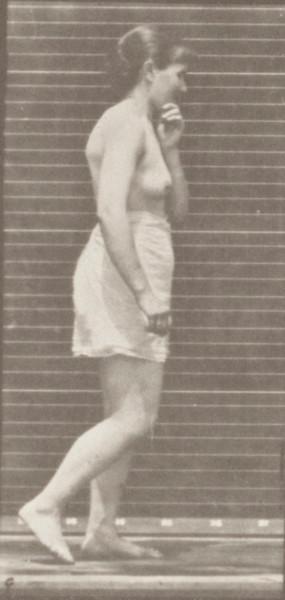 Semi-nude woman walking spastically