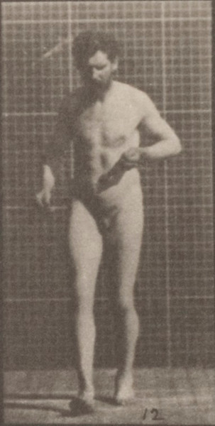 Nude man with lateral sclerosis walking