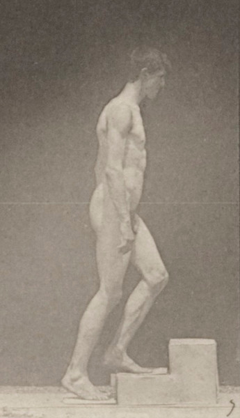 Nude man ascending a step
