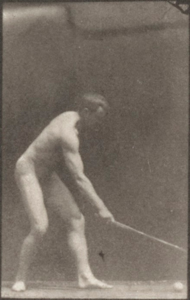 Nude man playing lawn tennis