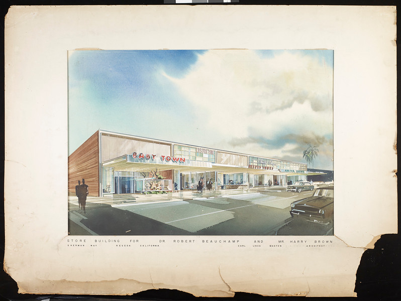 Store building for Dr. Robert Beauchamp and Mr. Harry Brown, Sherman Way, Reseda, California, [by] Carl Louis Maston, [s.d.]
