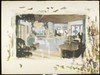 Colored drawing of the interior of a home with a grand piano in the foreground, [s.d.]