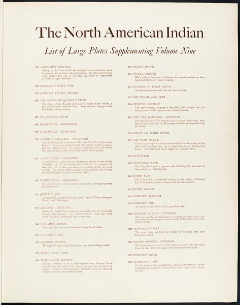 The North American Indian, vol. 9 suppl., list of large plates