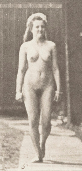 Nude woman walking