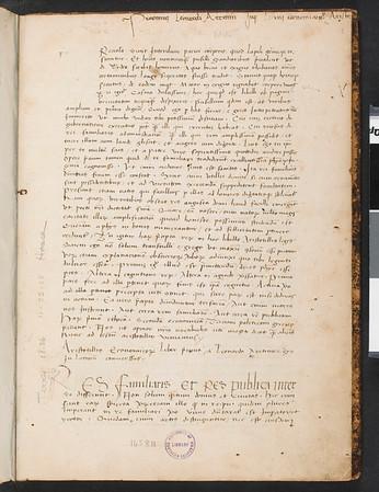 Aristotillis Economico[?] Liber p'mus a Leonardo Aretino e g̈co in Latinu conuerssus