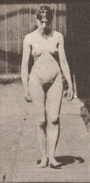 Nude woman walking