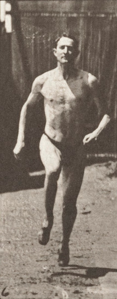 Man in pelvis cloth running at a half-mile gait