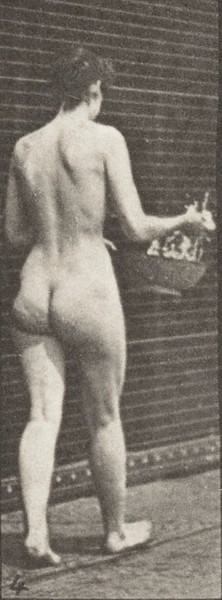 Nude woman walking, sprinkling water from a basin and turning around