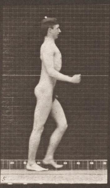 Nude man walking