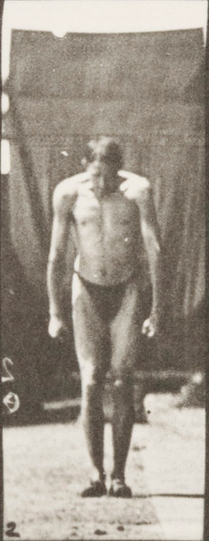 Man in pelvis cloth jumping, standing broad jump