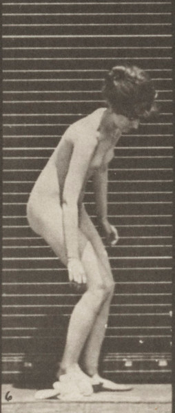 Nude woman dropping and lifting a handkerchief