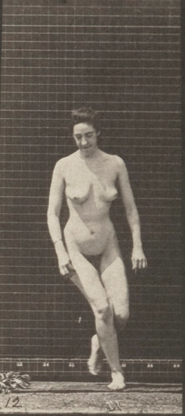 Nude woman stepping up on a trestle