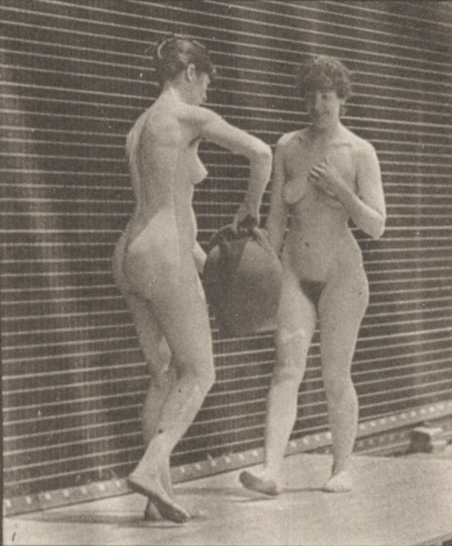 Nude woman kneels and drinks from the water jar of another woman and both walk off