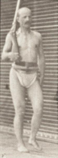 Man in pelvis cloth positioning bayonet