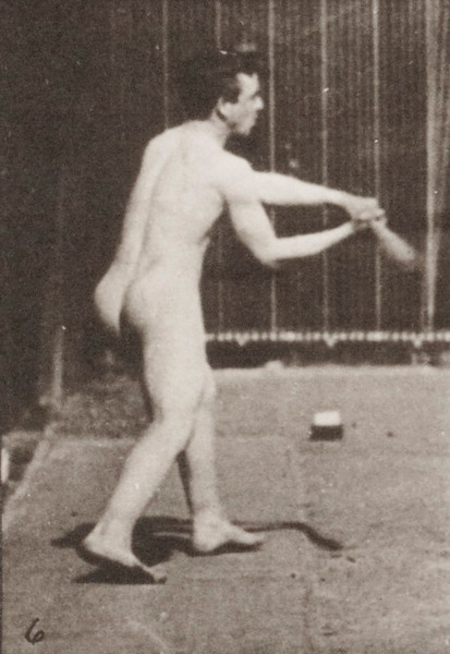 Nude man playing baseball, batting