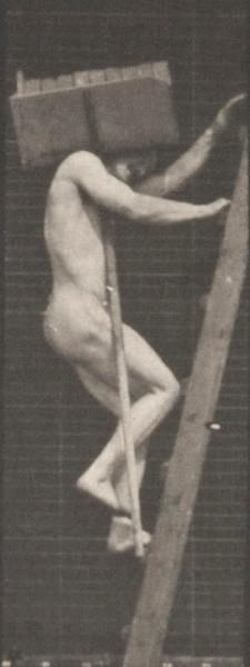 Man in pelvis cloth climbing ladder, carrying bricks