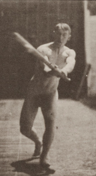 Nude man with baseball bat
