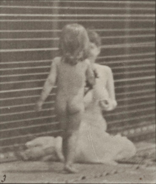 Nude child bringing a bouquet to a semi-nude woman