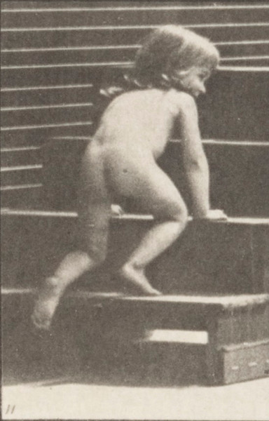 Nude child crawling