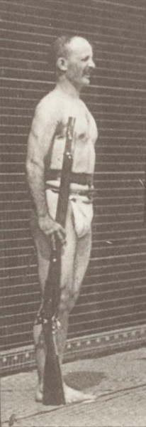 Man in pelvis cloth positioning bayonet