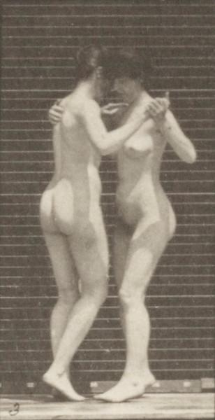Two nude women dancing a waltz