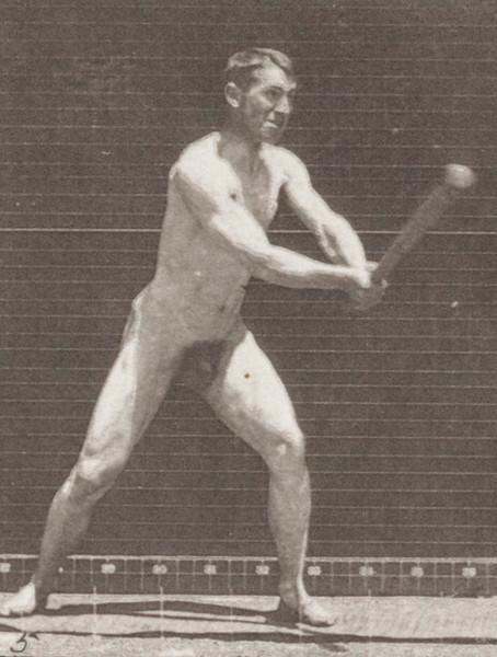 Nude man with baseball bat